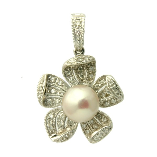 Akoya pearl pendant cultured pearls white pearl enhancer 1471 diamond 18k akoya pearl pendant enhancer aloadofball Image collections