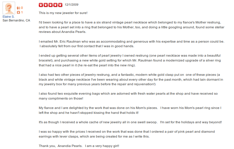Yelp Review Anandia Pearls