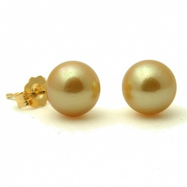 Akoya Golden Studs <br/> 14K Pearl Stud Earrings
