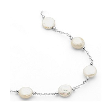 12-13mm White Coin Pearl Station Necklace and Bracelet Set (Silv