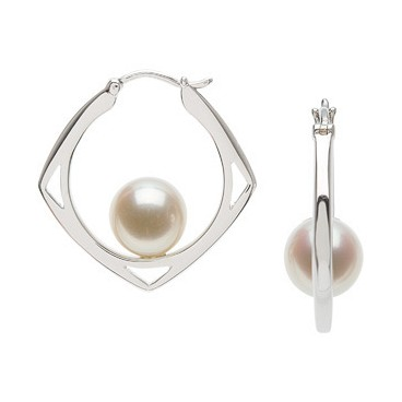 7.5-8mm Cultured Pearl Circle Earrings (Silver/Fresh)