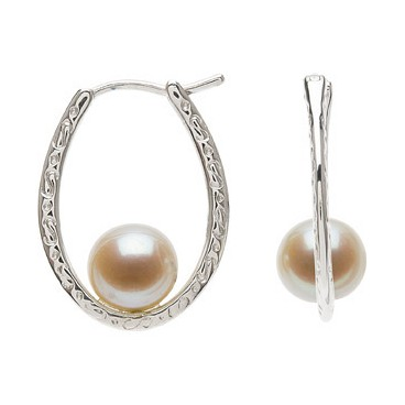 7.5-8mm Cultured Pearl Filigree Earrings (Silver/Fresh)