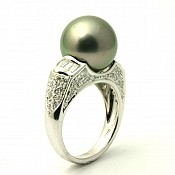 Mia <br/> Platinum Tahitian Black Pearl Ring