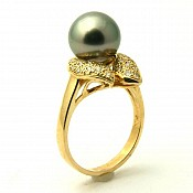 Claire <br/> 14K Tahitian Black Pearl Ring
