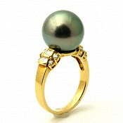 Samantha 18K Tahitian Black Pearl Ring