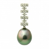 1229 - Diamond <br/>18K Tahitian Black Pearl Pendant Enhancer