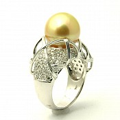 Paige 18K Golden South Sea Pearl Diamond Ring