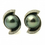 Taylor Diamond <br/> 18K Tahitian Black Pearl Earrings