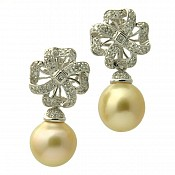 Jade Diamond <br/> 18K Golden South Sea Pearl Earrings