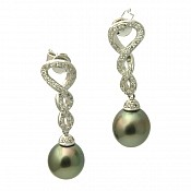 Laila Diamond <br/> 18K Tahitian Black Pearl Earrings