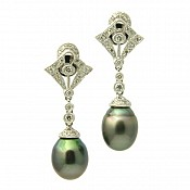 Monique Diamond <br/> 18K Tahitian Black Pearl Earrings