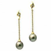 Vanesa Diamond <br/> 18K Tahitian Black Pearl Earrings