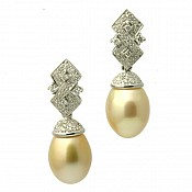 Amber Diamond <br/> 18K Golden South Sea Pearl Earrings