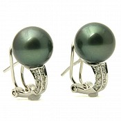Marie Diamond <br/> 18K Tahitian Black Pearl Earrings