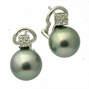 Dalia Diamond <br/> 18K Tahitian Black Pearl Earrings
