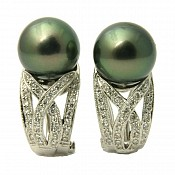Danielle Diamond <br/> 18K Tahitian Black Pearl Earrings