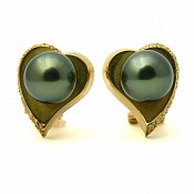 Midori Diamond <br/> 18K Tahitian Black Pearl Earrings