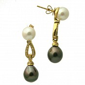 Renee Diamond <br/> 18K Tahitian Black Pearl Earrings