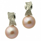 1433 - Diamond <br/> 18K Pearl Earrings Studs