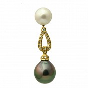 1472 - Diamond <br/> 18K Tahitian Black Pearl Pendant Enhancer