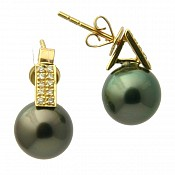 Kyoko Diamond <br/> 18K Tahitian Black Pearl Earrings