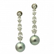 Sierra Diamond <br/> 18K Tahitian Black Pearl Earrings