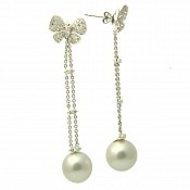 Butterfly Diamond 18K South Sea Pearl Earrings