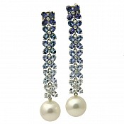 Monica 18K Blue Sapphire Earrings with South Sea Pearls
