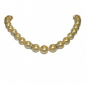 Genevieve <br/> Golden South Sea Pearl Necklace, 18K Diamond Ron