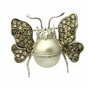 Butterfly Diamond <br/> 18K South Sea Pearl Pendant Pin