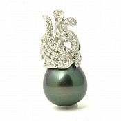 1589 - Diamond <br/> 18K Tahitian Black Pearl Pendant Enhancer