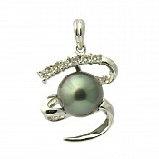 Bridget Diamond <br/> 18K Tahitian Black Pearl Pendant Enhancer