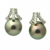 Ada Diamond <br/> 18K Tahitian Black Pearl Earrings
