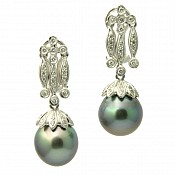 Coco Diamond <br/> 18K Tahitian Black Pearl Earrings