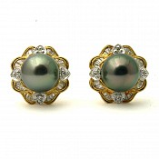 Mina Diamond <br/> 18K Tahitian Black Pearl Earrings