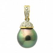 1669 - Diamond <br/> 18K Tahitian Black Pearl Pendant Enhancer