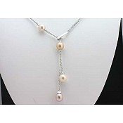 2456 - 18K Freshwater Pink Pearl Necklace Lariat (Tin Cup Style)