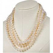 8-8.5mm 72 Inch White Cultured Pearl Rope Necklace (Fresh)