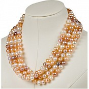 8-8.5mm 72 Inch Pink Cultured Pearl Rope Necklace (Fresh)
