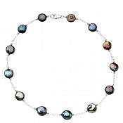 12-13mm Black Coin Pearl Station Necklace and Bracelet Set (Silv