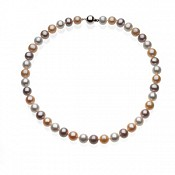 10-11mm Multicolor Pink Pearl Necklace and Bracelet Set (Silver/