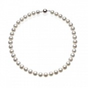 10-11mm White Pearl Necklace and Bracelet Set (Silver/Fresh)