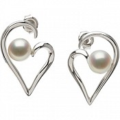 7-7.5mm Cultured Pearl Heart Earrings (Silver/Fresh)
