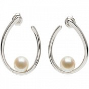 7-7.5mm Cultured Pearl Cradle Earrings (Silver/Fresh)
