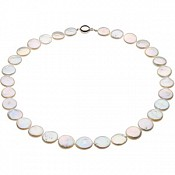 13-14mm White Cultured Coin Pearl Necklace and Bracelet Set (Sil