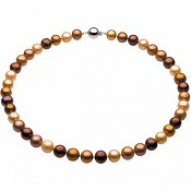 10-11mm Chocolate Pearl Necklace and Bracelet Set (Silver/Fresh)