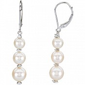 5.5-8mm Three-Pearl Drop Cultured Pearl Earrings (Silver/Fresh)