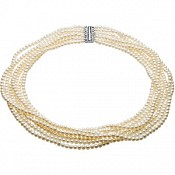 4-4.5mm Cultured Pearl 7-Strand Necklace and Bracelet Set (Silve